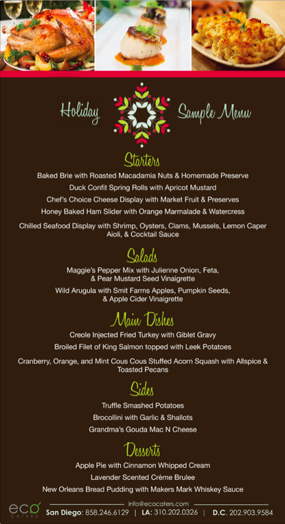 Holiday party menu all organic catering eco caters los angeles holiday catering san diego holida season catering company 2