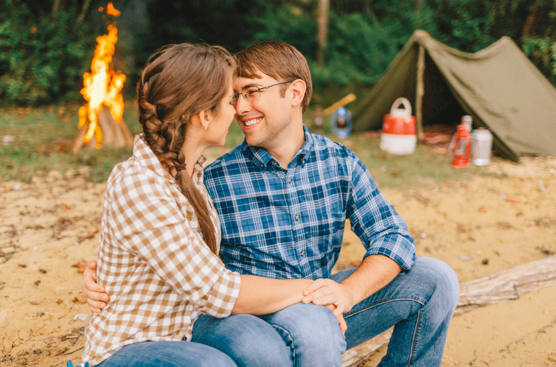 Camping theme engagement photos uniqie wedding ideas