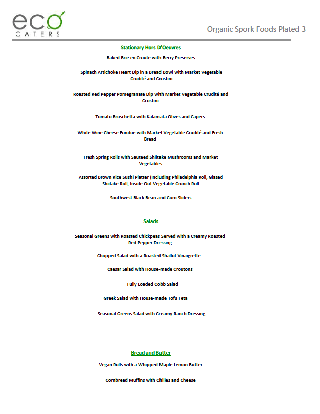 Eco Caters Organic Plated Menu
