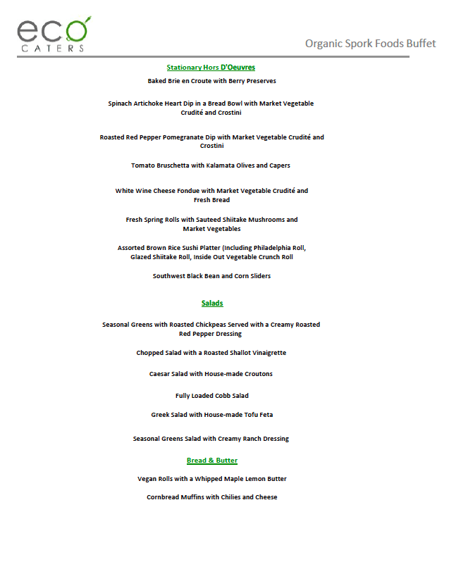 Eco Caters Veg Menu